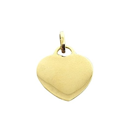18k 750 yellow gold Heart Pendant free letter engraving - 18K 750イエローゴールドハートペンダント