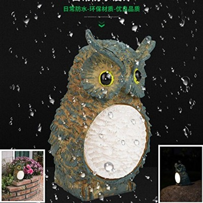 Fashionwu樹脂Solar PoweredライトセンサーLED Owl Night Light Garden Yardランプ装飾