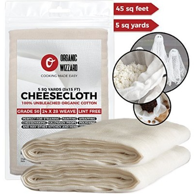 Cheesecloth - Organic Unbleached Cotton Fabric - Grade 50 Ultra Fine Mesh. 4.2sqm (5 yards) of 100%...