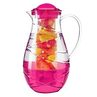 Relive Fruit Infusion 2.2リットルクリアBPAフリープラスチック水ピッチャーとカラフルな挿入 ピンク 65035-IP-Pink