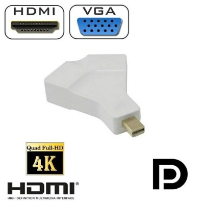 送料無料 Apple/Surface Pro用 Mini DisplayPort/Thunderbolt to HDMI/VGA 変換アダプタ 2in1 コンバータ 10cm Mini DP 1.2...