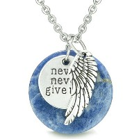 """Angel Wing and Inspirational """" Never Never Give Up """" Amulet Sodaliteペンダント18インチネックレス"""