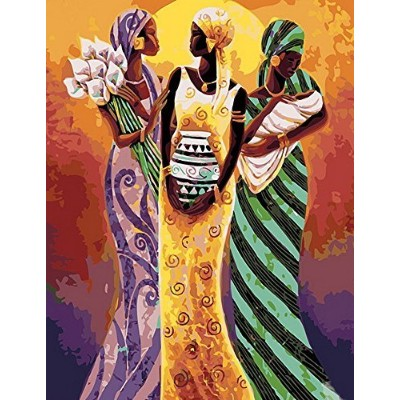 (African Lady) - MailingArt Paint By Numbers Kits For Adults Kids With Wooden Frame - Abstract...