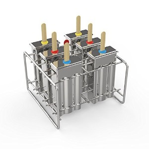 (Flat) - Kettio 6 pcs Stainless Steel Popsicle Ice Lolly Pop Mould, Ice Cream Mould with Stainless...