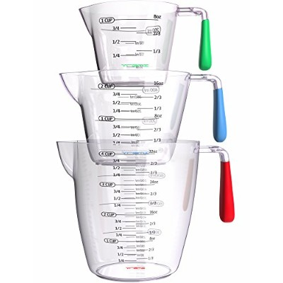 Vremi 3 Piece Plastic Measuring Cups Set - BPA Free Liquid Nesting Stackable Measuring Cups with...