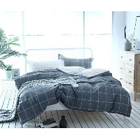 (220cm x 240cm , Grey Grid) - 3-Piece Simple Geometric Square Pattern Bedding Sets/Collections...