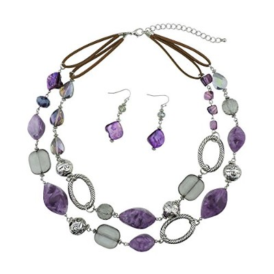 (purple) - BOCAR 2 Strand Statement Choker Shell Necklace and Earring Set for Women Gift