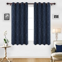 (52x63, Nany Blue) - Deconovo Blackout Curtains Grommet Top Drapes Wave Line and Dots Printed...