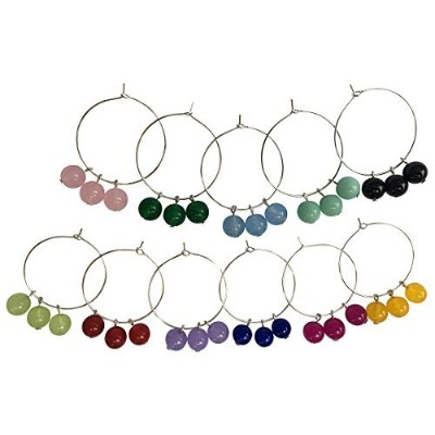 (11, mini simple tri 8mm chalcedony beads) - Beaded Chalcedony Wine Glass Charmers in Assorted sets...