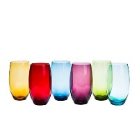 High Ball Tumbler Assorted Coloured Drinking Glasses Set of 6