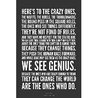 """"""" Here 's to the crazy。。。」Steve Jobs Motivational Quotesポスター印刷12x 18インチ( Rolled )"""