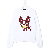 Dsquared2 Kids TEEN dog patch sweatshirt - ホワイト