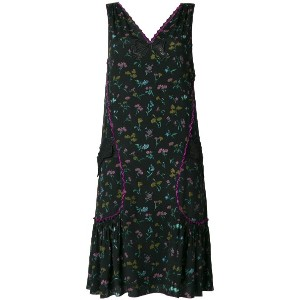 Coach floral print pleated dress - ブラック