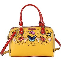ニコルリー レディース ハンドバッグ バッグ Visola Butterfly Embroidered Boston Shoulder Bag Yellow