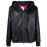 Alexander McQueen hooded leather jacket - ブラック