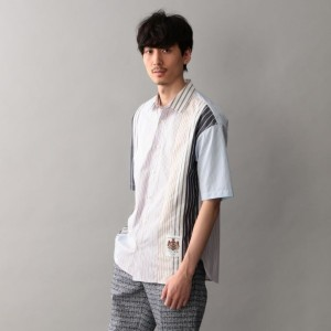 SALE【GUILD PRIME ギルドプライム】 【Education from Youngmachines】MENS パッチワークストライプシャツ ピンク メンズ