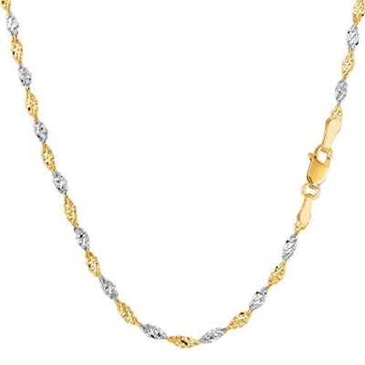 14k 2 Tone Yellow & White Gold Singapore Chain Necklace, 2.0mm, 18""