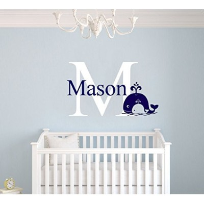 Personalized Boy Room Whale Name Color Wall Decal Art Decor Room Boys (Wide 15 x 22 Height) by...
