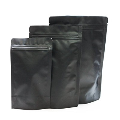 (15, 5 Small + 5 Med + 5 Large) - Assorted Sizes Matte Black Stand Up Airtight Zipper Pouches Smell...