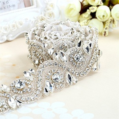 (Sliver) - Wedding Rhinestone Trim Appliques by the Yard for Bridal Belt Sash or Wedding Dresses...
