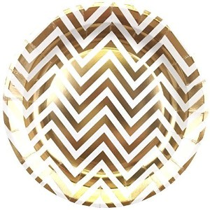 Just Artifacts Round Party Paper Plates 9in 12pcs Metallic Gold Chevron by Just Artifacts