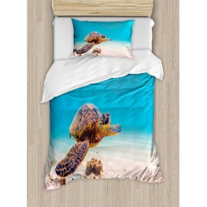 Turtle布団カバーセットby Ambesonne、ハワイアンGreen Sea Turtle Cruises in Warm Waters太平洋の写真、装飾寝具セットwithピロー...