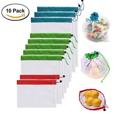hitun再利用可能なProduce Grocery Bags 10パックWashable通気性メッシュバッグGrocery Shopping Fruit Vegetable Organizer...