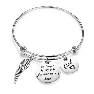 feelmem Memorialジュエリーno longer by my side Forever In My Heart Adjustable Bangle with Angel Wing...
