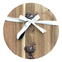 Giftcraft 2Piece Acacia Wood Rooster Cheese Cutting Board with Spreader