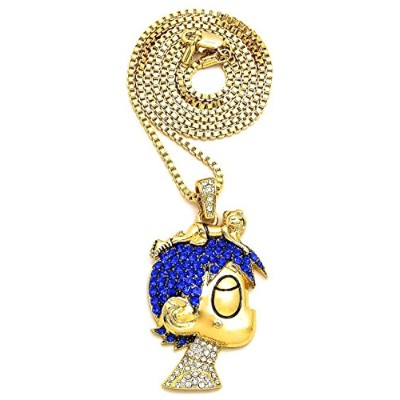 Gwood L Uzi Small Cartoon Iced Outペンダントネックレス