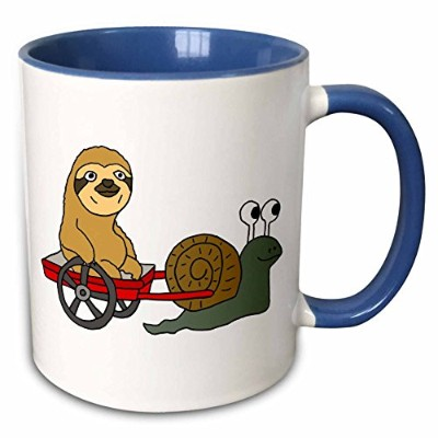 3drose All SmilesアートAnimals–Funny Sloth in Red Wagon Pulled by Snail–マグカップ 11-oz Two-Tone Blue...