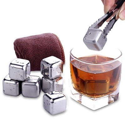 NZACE Reusable Whiskey Stones Ice Cube, 8 Piece Gift Set Metal Stainless Steel Scotch Whiskey...