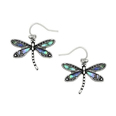 Liavy's Dragonfly Fashionable Earrings - Fish Hook - Abalone Paua Shell - Unique Gift and Souvenir
