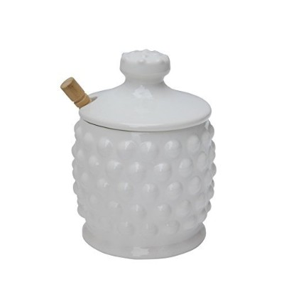 Creative Co-op Dolomite Hobnail Style Honey Jar with Wood Dipper, White by Creative Co-op