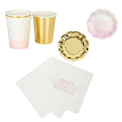 Talking Tables We Love Pink Happy Birthday Party Bundle Designer Plates, Napkins, and Cups