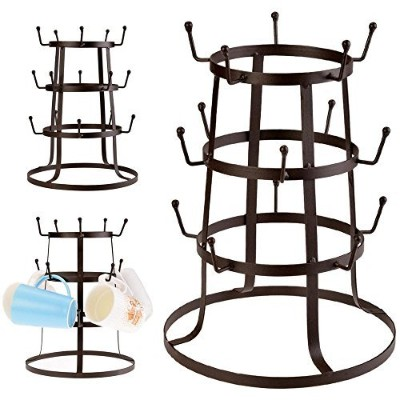 Cosway Retro Rustic Brown Iron Mug/Cup/Glass Bottle Organiser Tree Drying Rack Stand