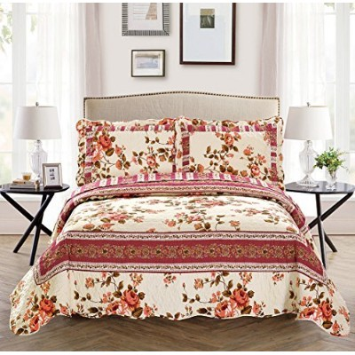 Fancy Collection 3 Pc Bedspread Bed Cover Beige Pink Floral (Ful/Queen) by Fancy Linen