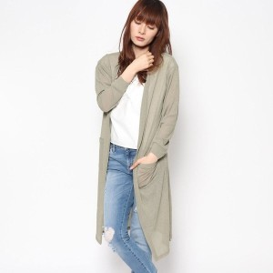【SALE 35%OFF】ルーミィーズ Roomy's OUTLET スラブリブカーデ (カーキ)