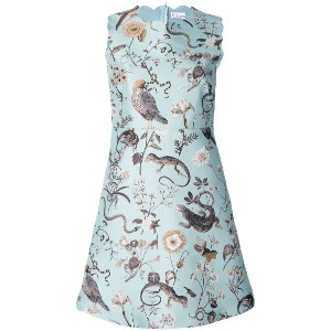 Red Valentino bird and insect print shift dress - ブルー