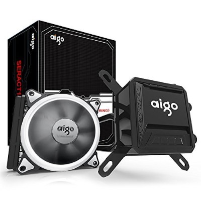 Aigo、液体CPUクーラー、高パフォーマンスCPU液体冷却システムwith 120mm PWMファンAll in One for Intel AMD 120mm