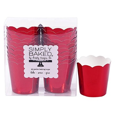 Simply Baked小柄Paper Baking Cup、レッドメタリック、200パック、使い捨て& oven-safe