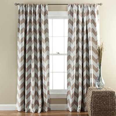 Lush Decor Chevron Blackout Window Curtain, 84 by 52-Inch, Taupe, Set of 2 by Lush Decor