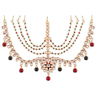 I Jewels Gold Plated Kundan Maang Tikka For Women ( t2002mg )