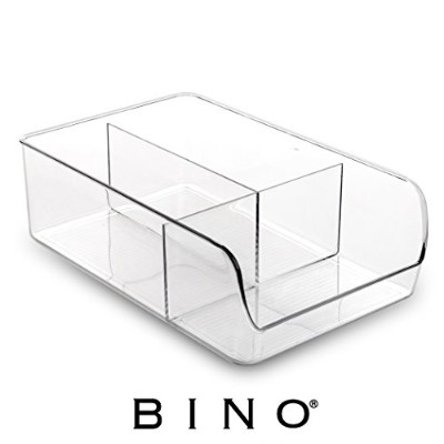 BINO 3 Compartment Refrigerator, Freezer and Pantry Cabinet Storage Organiser Bin, Clear and...