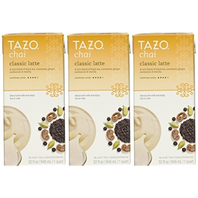 Tazo Chai Natural Spiced Black Tea Latte Concentrate 32-ounce Boxes (Pack of 3) by TAZO