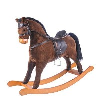 Labebe子Rocking Horseおもちゃ、Stuffed Animal Rockerおもちゃ、ブラウンRocking Horse with Bridle for Kid 3 – 8歳...