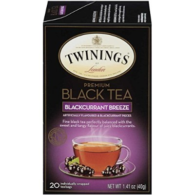 Twinings Flavored Black Tea, Blackcurrant Breeze, 20 Count Bagged Tea (6 Pack) by Twinings