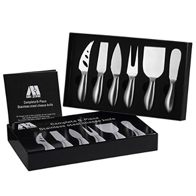 Premium 6-Piece Cheese Knife Set - MH ZONE Complete Stainless Steel Cheese Knives Collection...