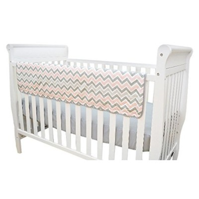 TL Care Pink and Gray Chevron Crib Rail Cover by TL Care