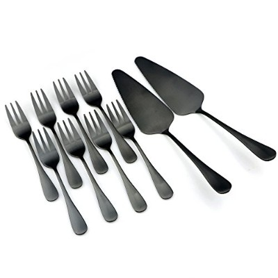 (Cake Set) - BRIIEC 18/0 Flatware Matte Black Titanium Stainless Steel Cake Set, 2-Piece Cake...